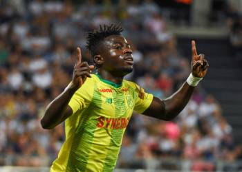 Moses Simon of Nantes celebrates his goal during the Ligue 1 match between Amiens and Nantes on August 24, 2019 in Amiens, France. (Photo by Aude Alcover/Icon Sport via Getty Images)