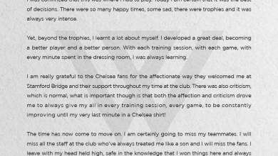 Photo of Willian pens emotional letter to Chelsea fans as confirms exit