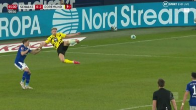 Photo of VIDEO: Haaland scores stunner as Dortmund win Revierderby against Schalke