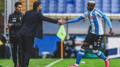 Photo of Osimhen scores as Napoli rout Lazio