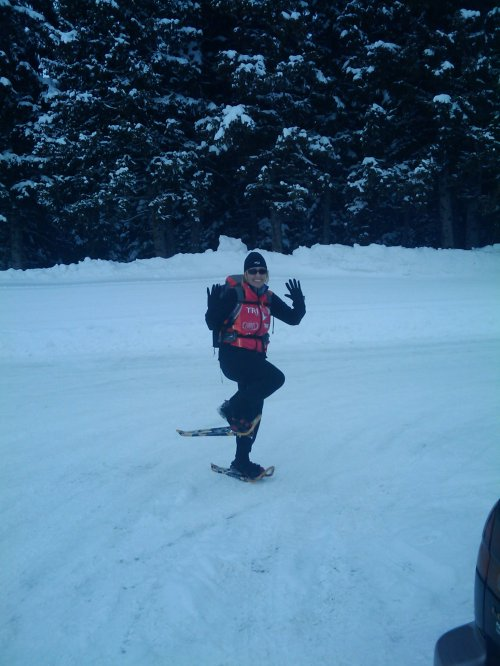 Colleen getting ready to rumble on our snowshoe adventure!