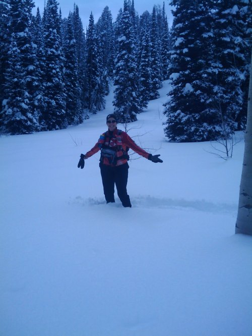 Off our path to see how deep the snow was.