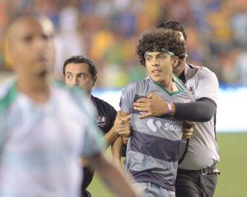 Fan ran onto the pitch