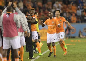 Houston Dynamo Forward Romell Quioto #12 celebrates as he scores During a match between the Houston Dynamo vs Seattle Sounders FC
