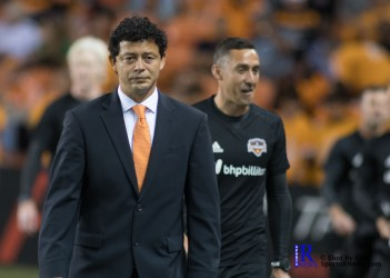 Houston Dynamo Head Coach Wilmer Cabrera walks to the pitch prior to a game between the Houston Dynamo and Columbus Crew SC, week 2 of the 2017 MLS season.The Dynamo would win by a score of 3-1