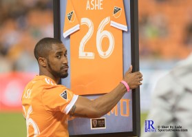 Corey Ashe receives honors at half time between the Houston Dynamo and Columbus Crew SC, week 2 of the 2017 MLS season.The Dynamo would win by a score of 3-1