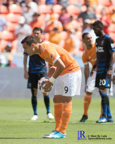 Houston Dynamo Forward Erick Torres #9 gets ready to take a penalty kick During a match between the Houston Dynamo vs San Jose Earthquakes, Goals from Houston Dynamo Forward Erick Torres #9and Houston Dynamo Forward Alberth Elis #17 Would earn the dynamo a win by a score of 2 to 0.April 22,2017 BBVA Compass Stadium