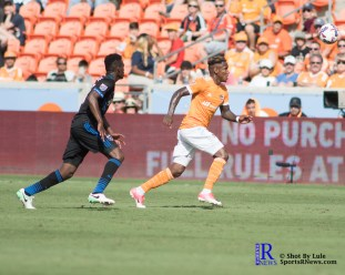 Houston Dynamo Forward Romell Quioto #12 During a match between the Houston Dynamo vs San Jose Earthquakes, Goals from Houston Dynamo Forward Erick Torres #9and Houston Dynamo Forward Alberth Elis #17 Would earn the dynamo a win by a score of 2 to 0.April 22,2017 BBVA Compass Stadium