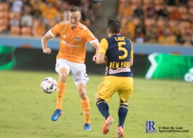 Houston Dynamo Defender Dylan Remick #15 During a Match between the Houston Dynamo vs The New York Red bulls April 1,2017 BBVA Compass Stadium
