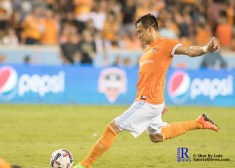 Houston Dynamo Forward Erick Torres #9 takes a free kick and scores goal number 3 for his first hat trick lh between the Houston Dynamo vs The New York Red bulls April 1,2017 BBVA Compass Stadium