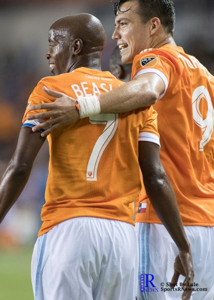 Houston Dynamo Forward Erick Torres #9 and Houston Dynamo Defender DaMarcus Beasley #7 after goal nuber 4 of the match During a Match between the Houston Dynamo vs The New York Red bulls April 1,2017 BBVA Compass Stadium