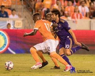 Houston Dynamo Forward Romell Quioto #12 keeps the ball from Orlando City Soccer Club Midfielder Kak? #10 During a match between the Houston Dynamo vs Orlando City SC,Week 10 of the MLS.Houston Tx.2017