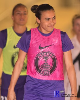 Orlando Pride Forward Marta #10 Walks to the pitch prior to a match between the Houston Dash vs Orlando Pride, Final Score Dash 2,Orlando 4 ,Houston Tx, 2017.