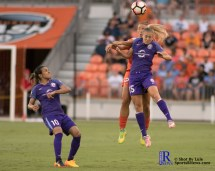 Orlando Pride Forward Rachel Hill #15 and Houston Dash Midfielde Amber Brooks #12 fight for a ball During a match between the Houston Dash vs Orlando Pride Final Score Dash 2,Orlando 4 ,Houston Tx, 2017.