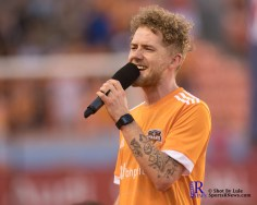 Singing of the National Anthem prior to a match between the Houston Dynamo vs Dallas FC,June 23,2017 Houston Tx.
