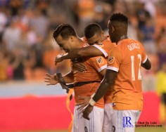 Houston Dynamo Forward Mauro Manotas #19,Houston Dynamo Forward Romell Quioto #12 congratulate Houston Dynamo Forward Erick Torres #9 while he is doing the robot dance after he scored During a match between the Houston Dynamo vs Dallas FC,June 23,2017 Houston Tx.