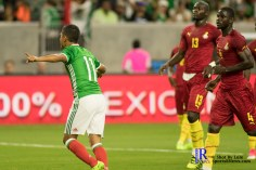 Mexico's Forward Elias Hernandez #11 celebrates after scoring a PK During a match between Mexico National Team and Ghana National Team at NRG Stadium ,June 28,2017 Houston Tx.