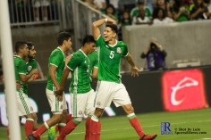 Mexico's Defender Jesus Molina #5 gets the fan to celebrate as mexico takes a one null lead During a match between Mexico National Team and Ghana National Team at NRG Stadium ,June 28,2017 Houston Tx.