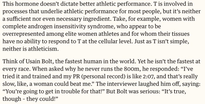 On Transgender athletes and performance advantages | The