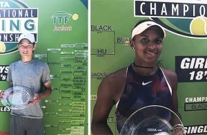 International Spring Championships – Carlson, CA. Picture on the left: Boys' 16 singles winner – Alexander Chang. Picture on the right: Girls' 18 winner and finalist – Tyra Black and Connie Ma