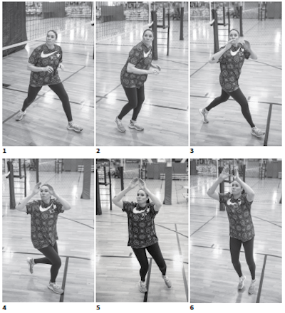 Team USA Volleyball, Lindsey Berg, Step, crossover footwork is another good way to get your feet to the ball. Once you turn toward your target (photos 5 and 6), finish by using the same footwork demonstrated on page 34 – pushing off with your left foot and stepping forward with your right.
