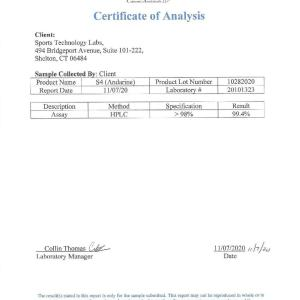 Third party lab test results for Sports Technology Labs S4 (Andarine) showing 99.4% Purity