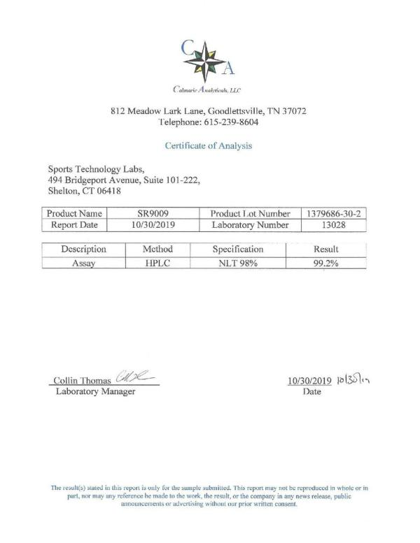 Third party lab test results for Sports Technology Labs SR9009 (Stenabolic) showing 99.2% Purity