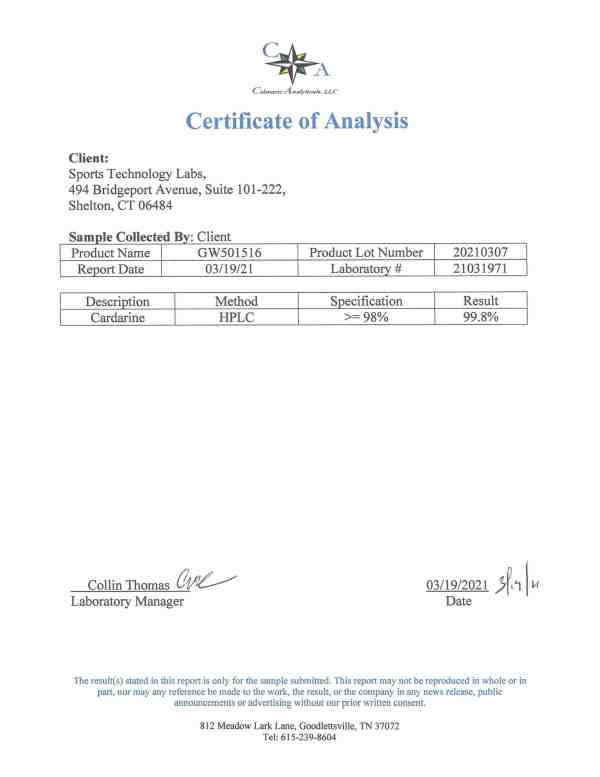 GW501516 certificate of analysis