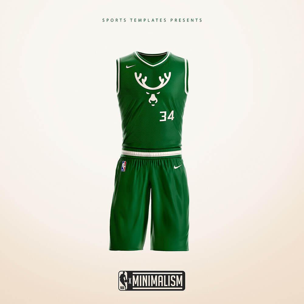 Milwaukee Bucks Minimalist Uniform rebrand