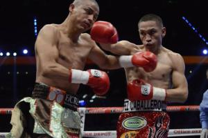 Estrada (right) landed plenty of right hands like this against Segura (left) to secure the win