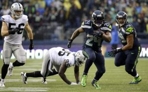 Marshawn Lynch looked like his old self in the Seahawks home win over the Raiders (Courtesy of the Seattle Times)