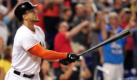 Giancarlo Stanton has been killing it in 2015, bu he is hurt again. (Courtesy of USA Today)