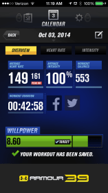 The Armour39 shows 100% because I exceeded my maximum heart rate.