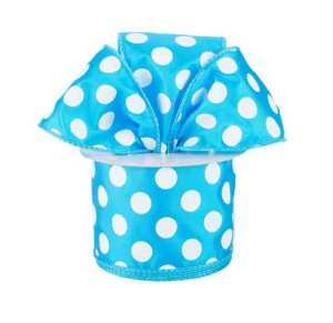 turquoise blue and white polka dot ribbon