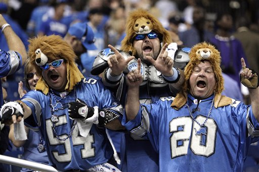Finally, these Lions fans can take off their disguises after Detroit's 19-14 triumph over Washington...oh that's how they usually dress? Well alright then