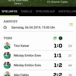 SG SV Grün-Weiß Tanna -  FC Chemie Triptis 3:2 (1:2)