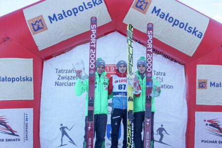 FIS Cup Zakopane 2017 - Podium 1. Ulrich Wohlgenannt, 2. Matjaž Pungertar, 3. Timi Zajc (1)