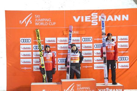 WC Ruka 2018 - Podium: 1. Ryōyū Kobayashi, 2. Kamil Stoch, 3. Piotr Żyła