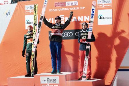 WC Willingen 2018 - Podium: 1. Daniel-André Tande, 2. Richard Freitag, 3. Dawid Kubacki