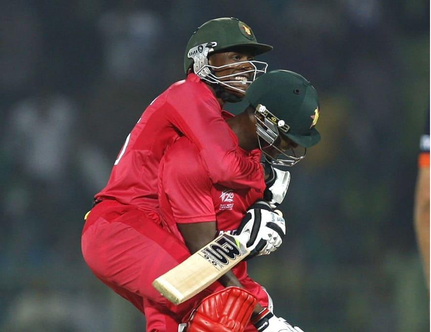Vusi Sibanda and Timycen Maruma celebrate Zimbabwe's last ball win against Netherlands
