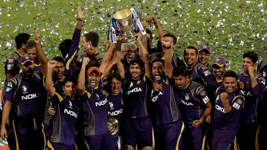 KKR players celebrate their second IPL title win