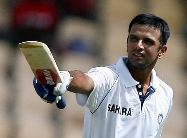 File photo of India's Dravid celebraing after completing his century against West Indies in Gros Islet