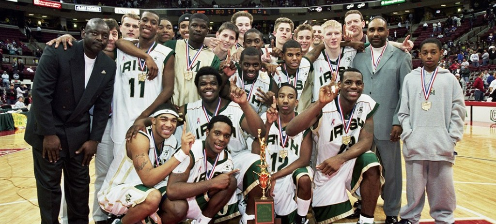 LeBron together with his teammates at St. Vincent-St. Mary High School