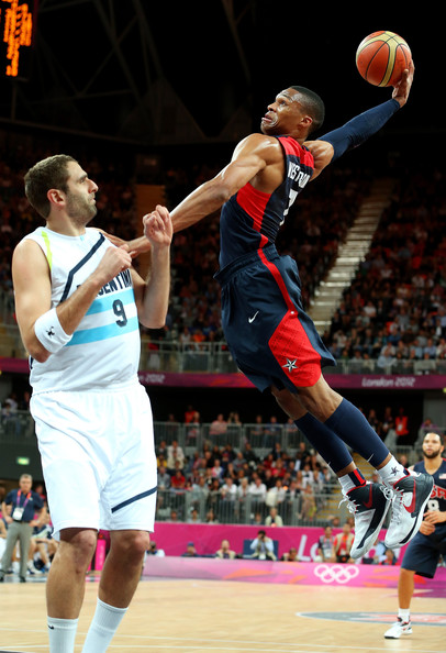 Russell Westbrook dunks at the London 2012 Olympics