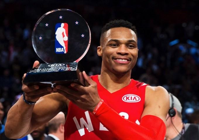 Westbrook hoists the NBA MVP Award