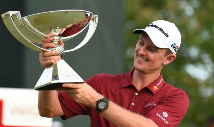Justin Rose poses with his FedEx Cup Trophy