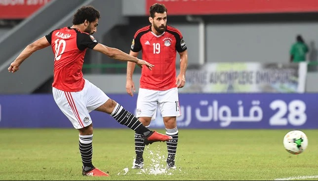 Mohamed Salah is seen taking a free-kick for Egypt
