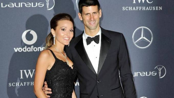 Novak Djokovic pictured with his wife, Jelena Djokovic