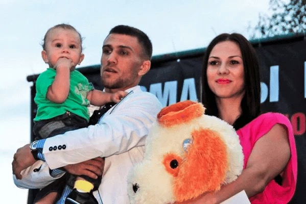 Vasyl Lomachenko with Elena, his wife and Anatoly, his son.
