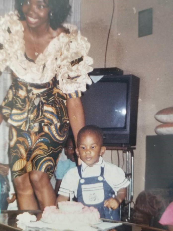 Young Joel Embiid his mother
